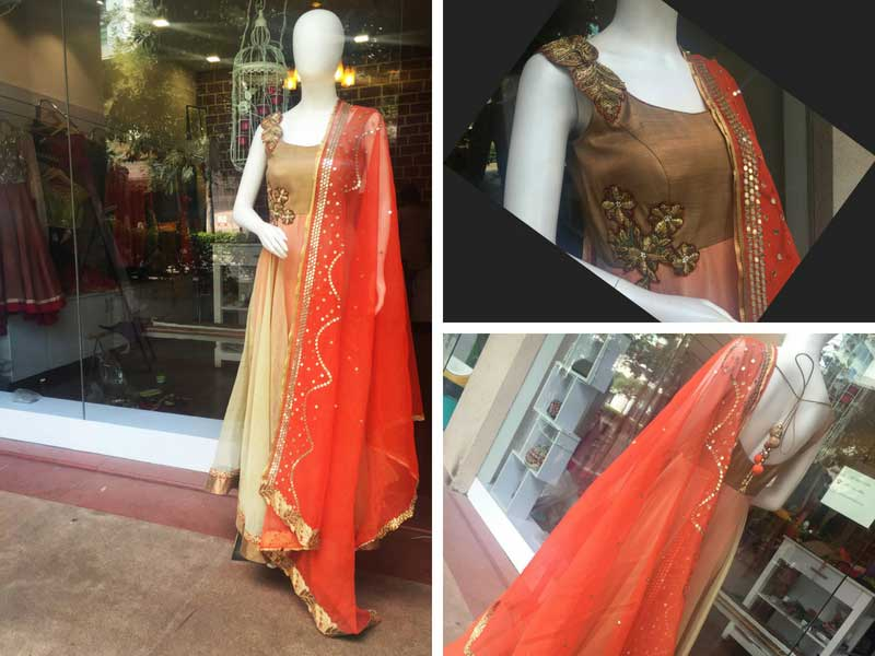 Floor length anarkali dress re-designed from old saree