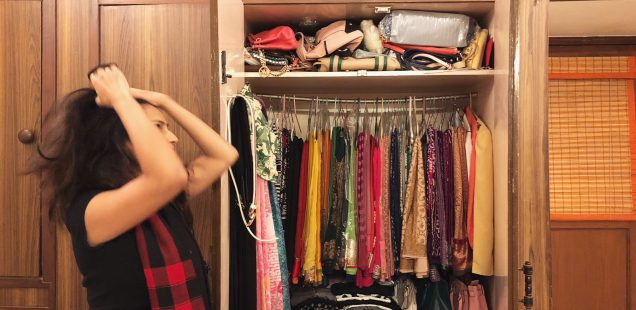 Wardrobe full of old sarees and traditional ethnic wear