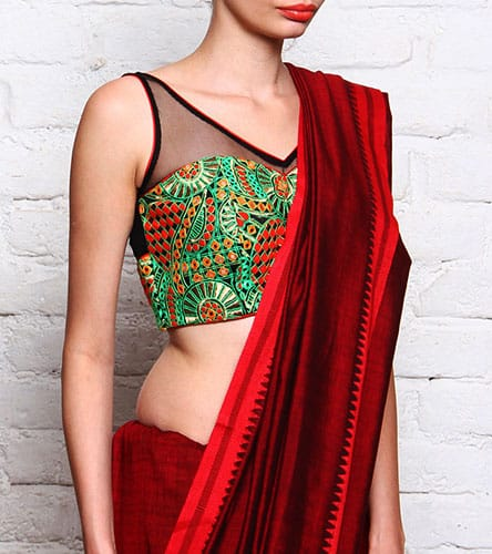 Sleeveless and Trendy Padded Blouse design with a Saree