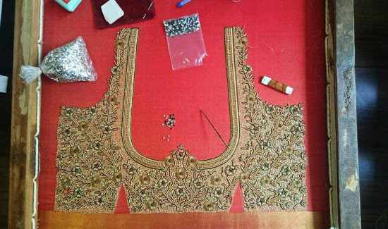 Blouse Embroidery design on a Frame or adda