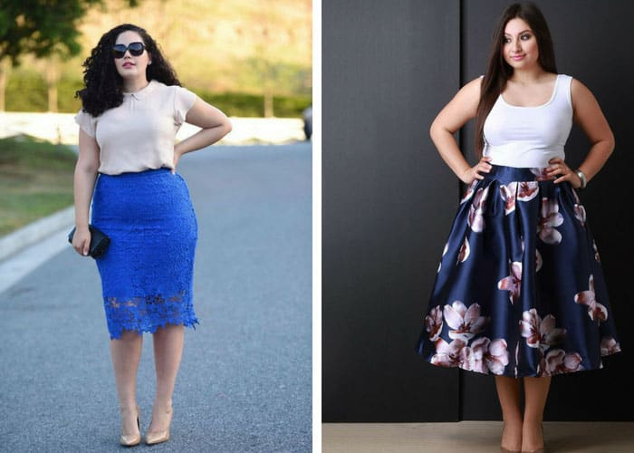 Skirt blouse combinations for plus size women
