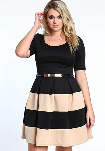 Black and Beige Stripes on a single piece dress on a plus size woman