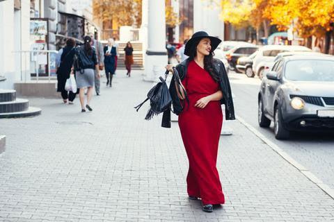 Dark Red Maxi Dress worn by a Plus Size Woman