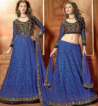 Before and after image of a Blue Lehenga that got transformed into a beautiful anarkali suit