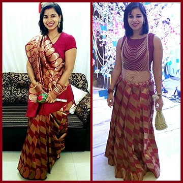 Before and after image of saree that was converted to designer lehenga