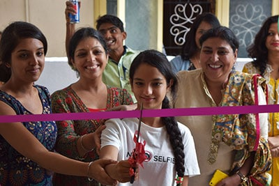 Harmeen and her daughters cutting ribbon on launch of Designer Boutique in Bangalore