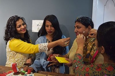 Designer and Founder Rashmi Gupta is greeted and acknowledged by the ladies at the Boutique
