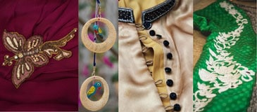 Brooch, Buttons, Tassels, Latkans, Lace, Borders, Zips, Trims as per your choice