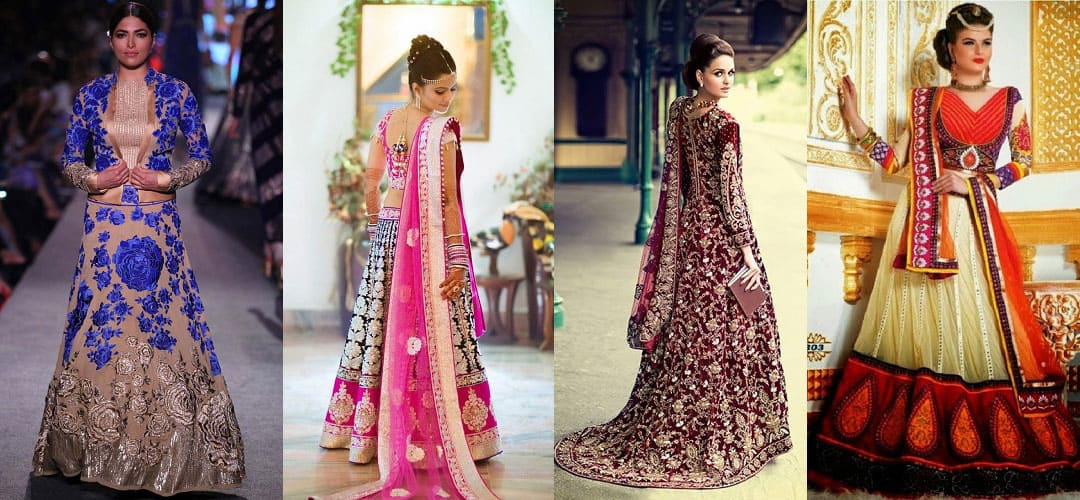 Variety of Wedding Lehenga Blouses with different shapes & cuts