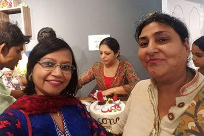 Designer Rashmi Gupta with a Customer at the Boutique in Bangalore