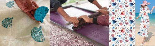 block printing, screen printing and digital printing on fabrics available at the store