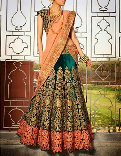 Wedding Lehenga with fabric panels attached to give volume