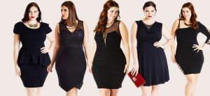 Fashionable dresses on many plus size women