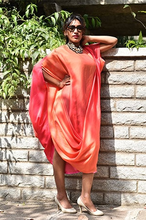 A Western Style Draped Dress made with Indian Fabric and Indian Colour