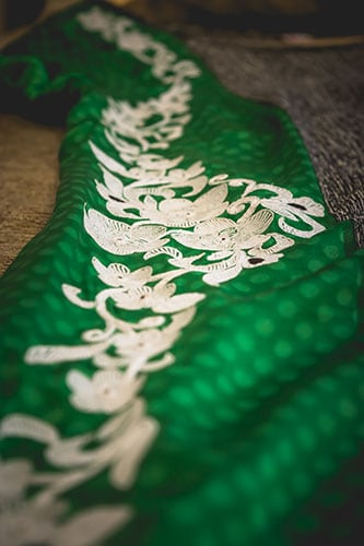 Picture of a lace embellishment for a designer saree blouse
