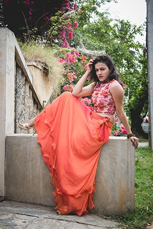 Long Skirt with a large flare is paired with a Indian Style Embroidered Crop Top