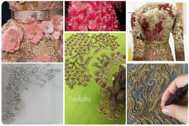Collection of a large number of embroidery patterns for lehenga, curated from across the world