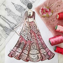 Elaborate Sketch of a Lehenga Design