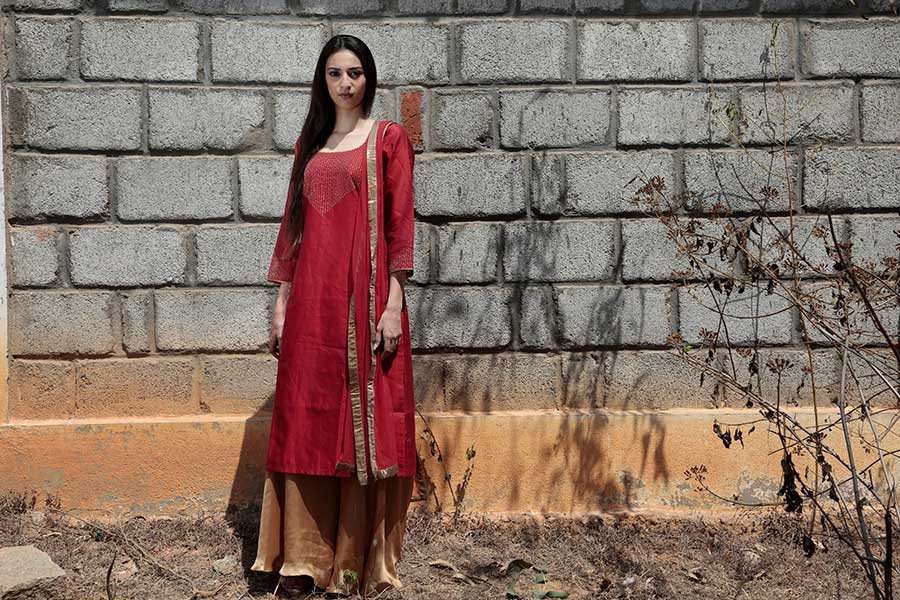 A simple long kurta that can be paired with a palazzo pant or a Churidar