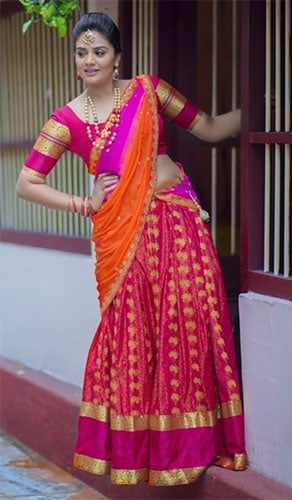 south indian style langa voni dress is another form of lehenga choli