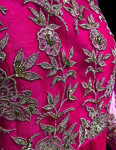 Floral motif embellished by hand embroidery on Lekhana's Anarkali suit