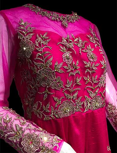 Yoke of the Anarkali dress embellished with Hand Embroidery