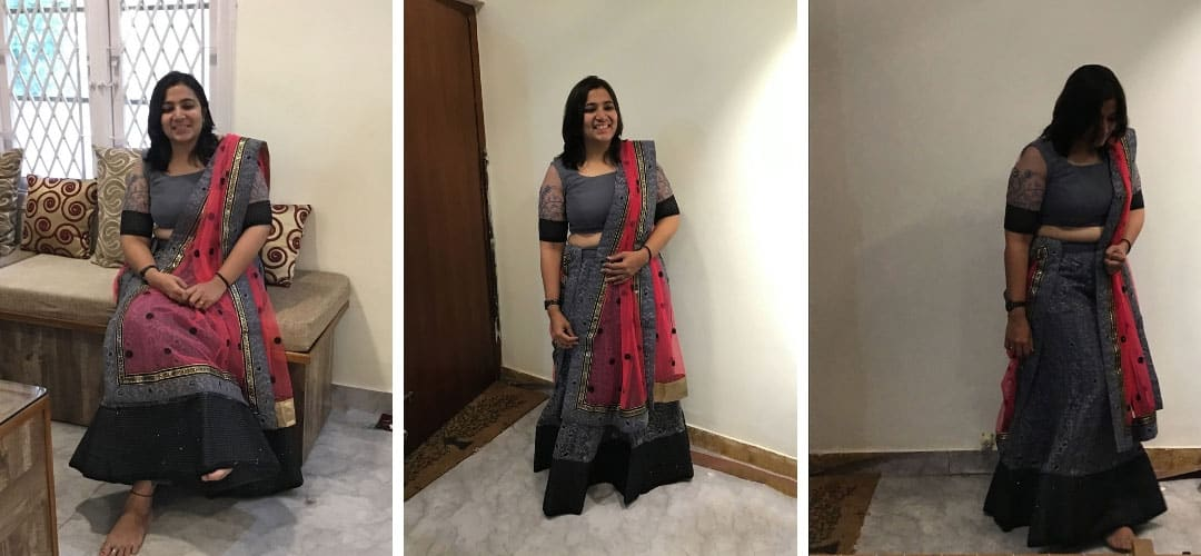 Ash grey colour lehenga with pink dupatta worn by customer Sindhu at the boutique