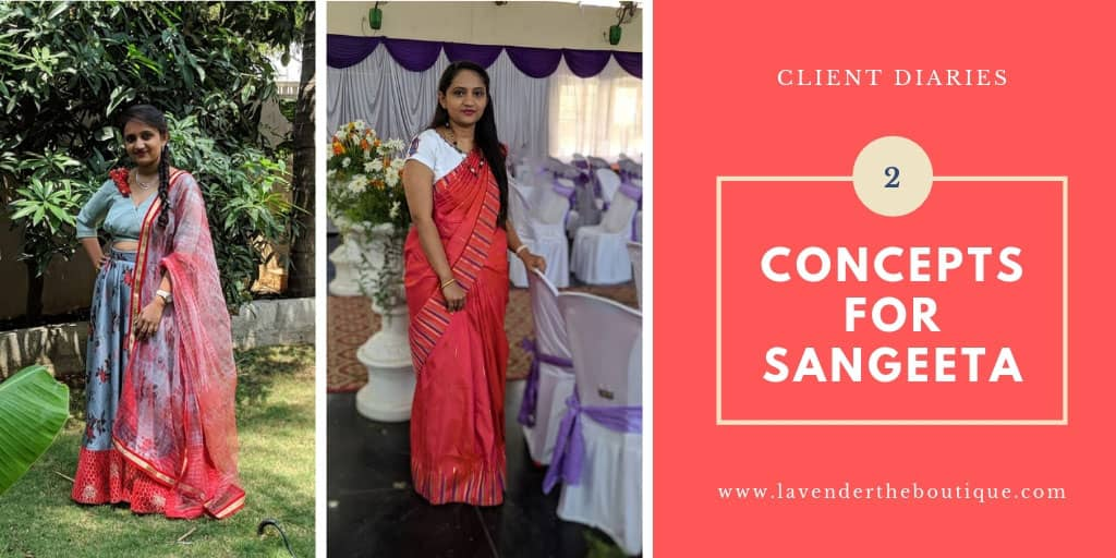 Modern lehenga blouse and a youthful saree blouse design for client Sangeeta