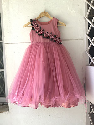 onion pink frock design for 6 year old girl