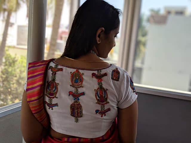 Blouse back design with beautiful bird motif embroidery embellishment