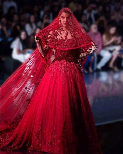 Deep red Indo Western wedding gown