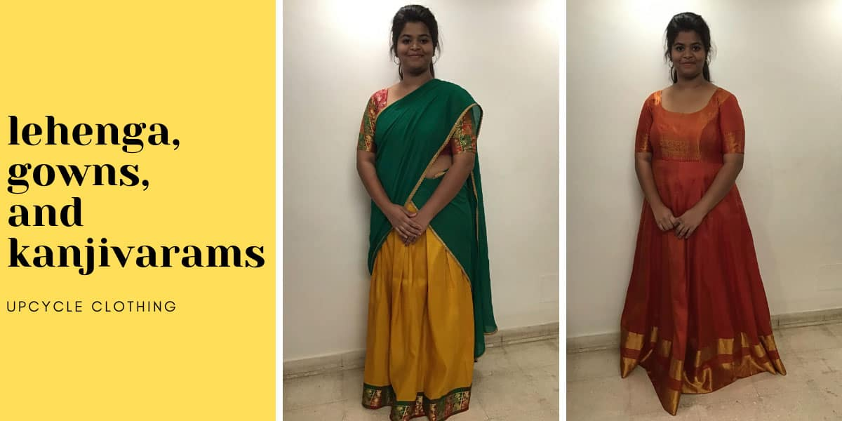 Client Sirisha wearing a lehenga blouse and anarkali gown made from her kanjivaram sarees