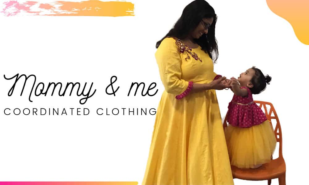 Mother and Daughter matching dress in Yellow & pink