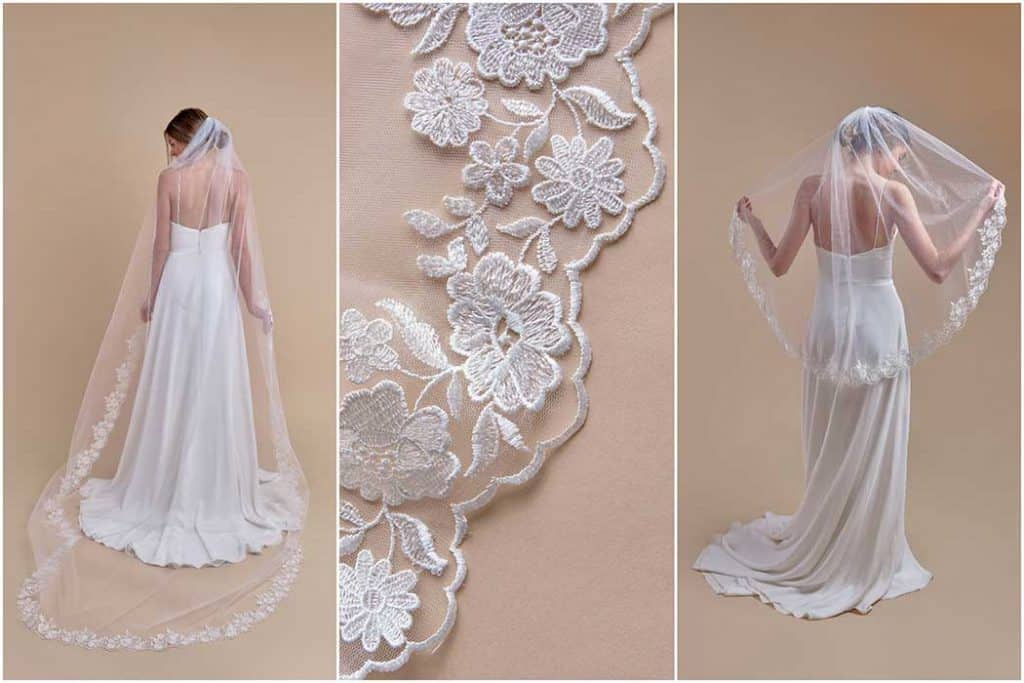 White wedding gown with embroidery & lace embellishment