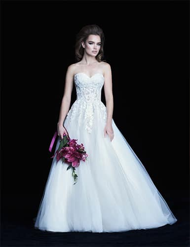 A tube gown design in white for a bride