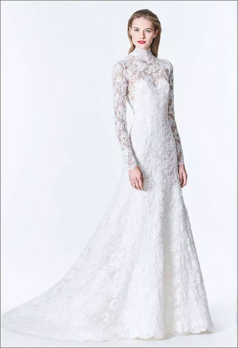 A delicate and detailed white wedding gown design