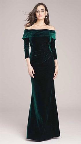 off shoulder dark green gown dress made in shimmery velvet