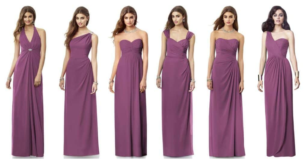 models wearing gowns in same colour but different necklines
