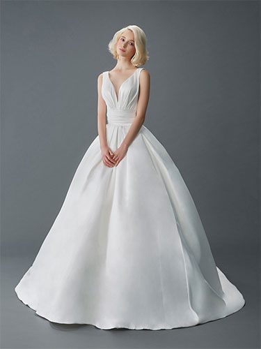 A white gown design using satin fabric