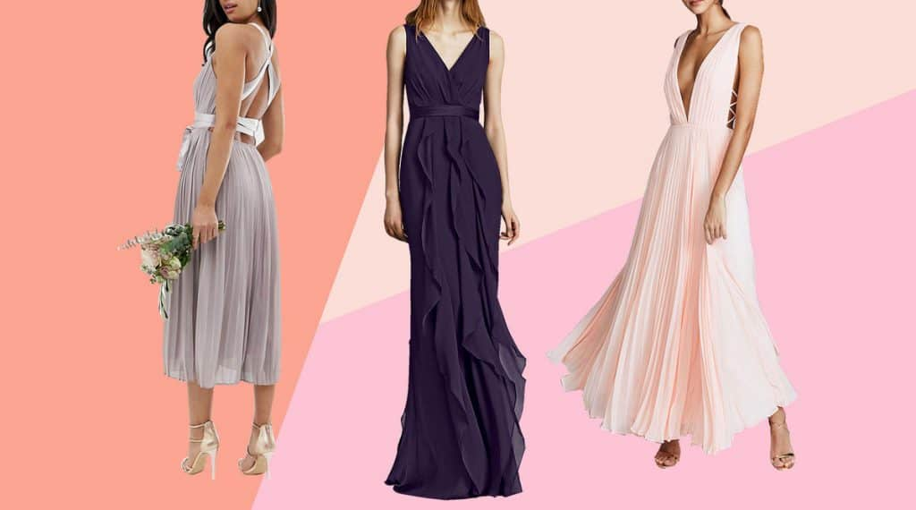 Three models wearing different waistline gown dresses