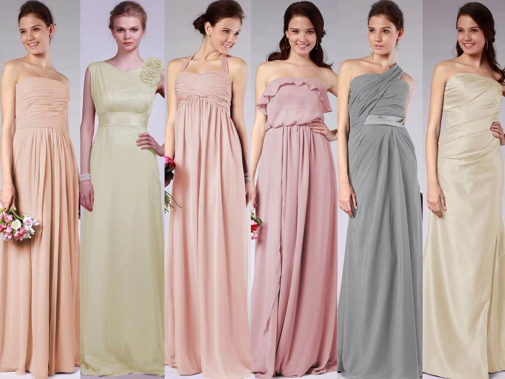 gown dresses in various fabric types