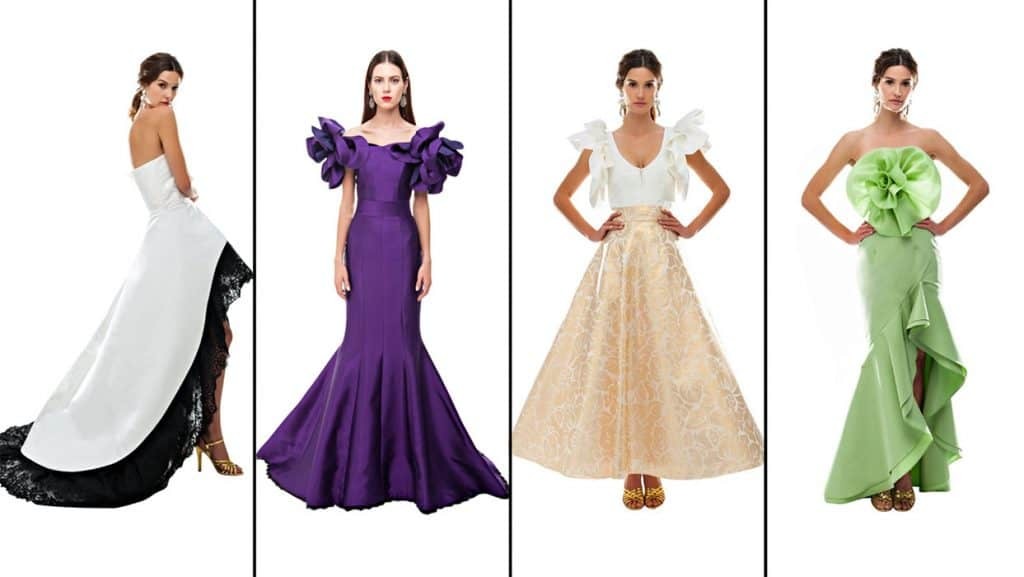 Four gown dress designs - each with different hemlines
