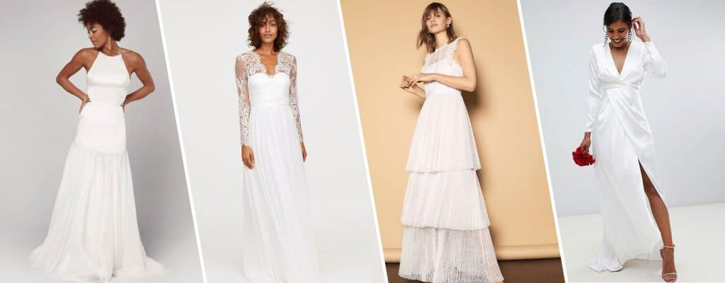 Various Sleeve designs on white gowns