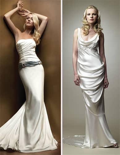 2 Models showcase party gowns made from the Charmeuse fabric