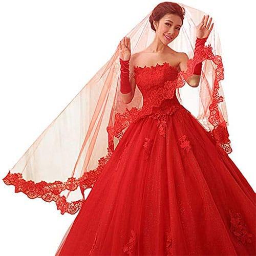 Red gown design with same colour of the veil