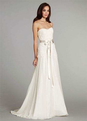 A white gown design without straps or sleeves