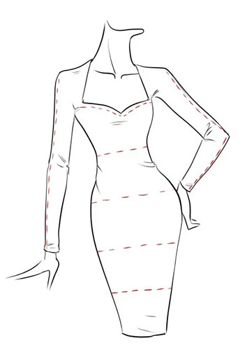 Sketch for a typical figure fitting bodycon dress