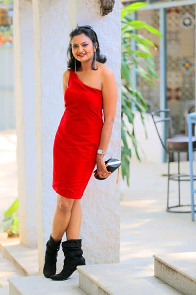 Client Sushma wearing Red bodycon dress with single shoulder