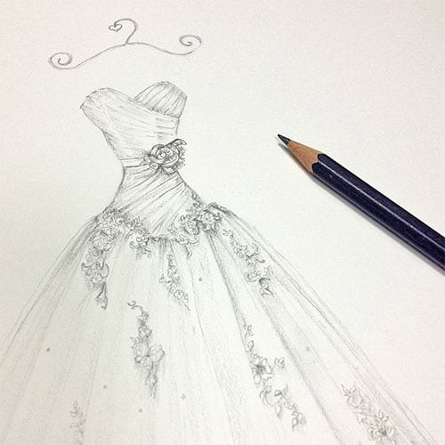 Hand drawn sketch of a wedding gown design