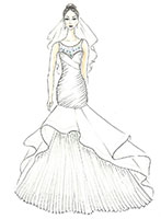 Hand sketched frontal view of a bride in a wedding dress